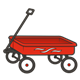 Red Wagon with white design