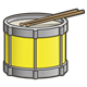 Yellow Drum with drumsticks