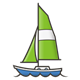 Sailboat with green sail