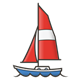 Sailboat with red sail