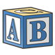 Blue Block with ABC