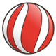 Red Ball with white stripes