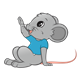 Gray Mouse raising hand
