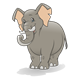 Gray Elephant with tusks and pink ears