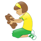 Girl Kneeling with a stuffed bear