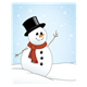 Snowman with a top hat and red scarf