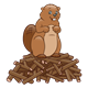 Brown Beaver standing on pile of sticks