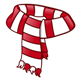 Scarf with red and white stripes