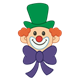 Clown Face with small eyes, green hat and purple bow tie