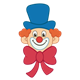 Clown Face with large eyes, blue hat, and red bow tie