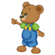 Button Bear pointing with right hand