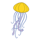 Yellow Jellyfish with purple tentacles