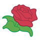 Red Rose with green stem and leaves