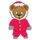 Button Bear dressed in a red winter coat