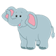 Gray Elephant with pink ears and mouth