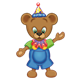 Button Bear wearing a party hat and ruffle
