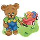 Button Bear pulling red wagon with 123