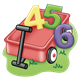 Red Wagon with 4, 5, and 6