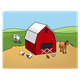 Barnyard Scene with a red barn and farm animals