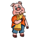 Little Pig holding straw