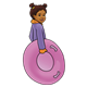 Sledding Girl holding a pink sled