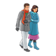 Couple Walking in winter coats, scarves, and gloves