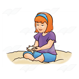 Girl Sitting in Sand