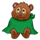 Teddy Bear wearing a green cape