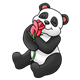 Panda Bear smelling a red rose