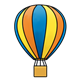 Hot Air Balloon blue, yellow, and orange striped