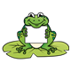 Frog Holding Sign on a lily pad