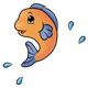 Jumping Orange Fish with blue fins