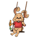 Swinging Bunny with a carrot