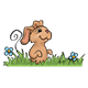 Brown Bunny in tall grass with flowers
