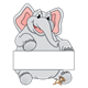 Elephant and Mouse with a blank sign