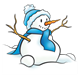 Snowman with a blue hat and scarf