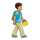 School Boy with a green backpack and yellow lunchbox