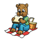 Picnic Bear eating a sandwich