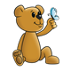 Light Brown Bear holding a blue butterfly