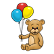 Light Brown Bear holding a blue, red, and yellow balloon