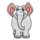 Gray Elephant with pink ears