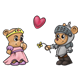 Medieval Bears a princess and a knight with a heart and a flower
