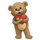 Brown Teddy Bear hugging a red heart