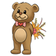 Brown Teddy Bear holding a bouquet of flowers behind his back