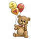 Brown Teddy Bear holding I love you balloons