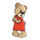 Girl Bear wearing a red dress