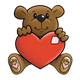Brown Teddy Bear with a patched red heart