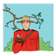 Canadian Mountie holding a bird beneath a tree