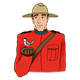 Canadian Mountie holding a bird