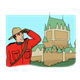 Canadian Mountie looking at a landmark